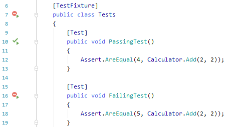 JetBrains Rider shows different indicators for unit tests in the editor
