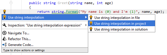 JetBrains Rider: Converting a usage of String.Format into string interpolation