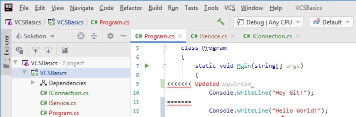 JetBrains Rider: version control status colors