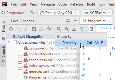JetBrains Rider VCS: Grouping unversioned files by directory