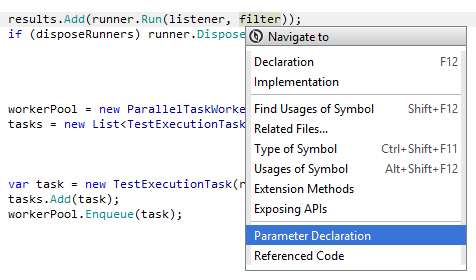 JetBrains Rider: Navigating to parameter declaration