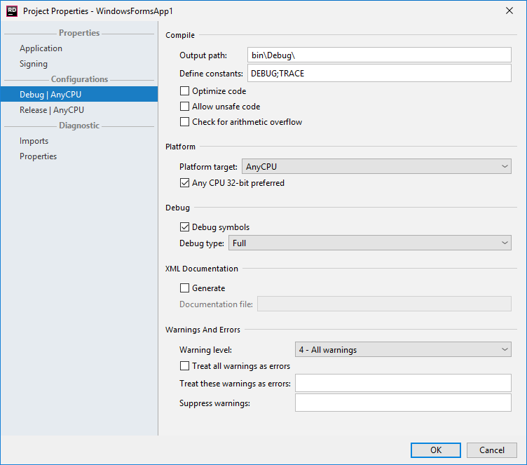 JetBrains Rider: Project Properties dialog