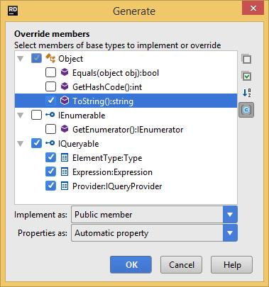 Generating overriding members