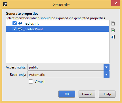 Generating properties with JetBrains Rider