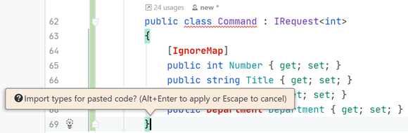 JetBrains Rider: Namespace import fix for pasted code block
