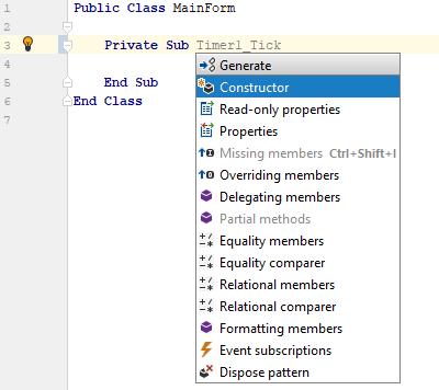 JetBrains Rider: Generate members in VB.NET