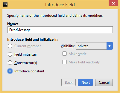 JetBrains Rider: Introduce Field refactoring