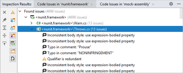 Detected code issues in the Inspection Result window