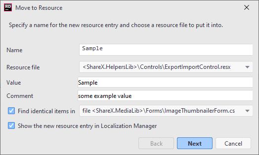 JetBrains Rider 'Move to Resource' refactoring