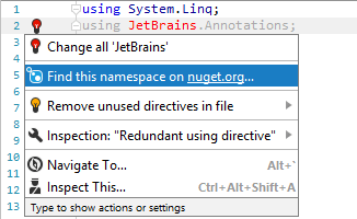 Finding NuGet package by namespace with JetBrains Rider
