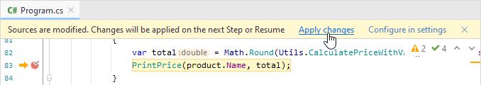 JetBrains Rider: Edit and continue. Applying changes