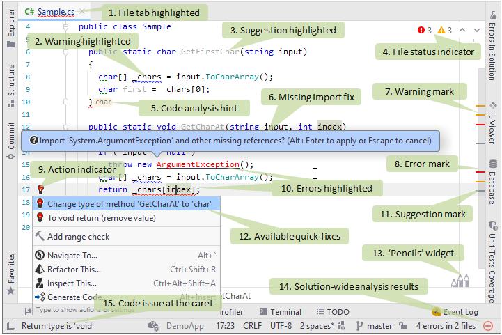 JetBrains Rider: Design-time code inspection