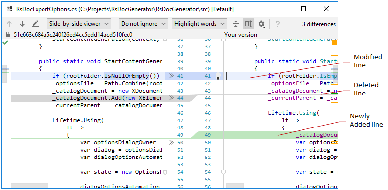 Comparing files in JetBrains Rider diff viewer