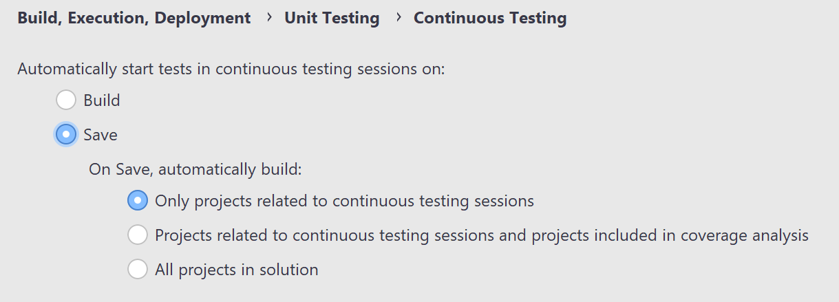 JetBrains Rider: Continuous Testing settings