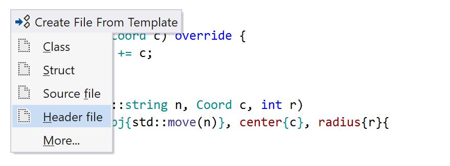 JetBrains Rider C++: File Templates