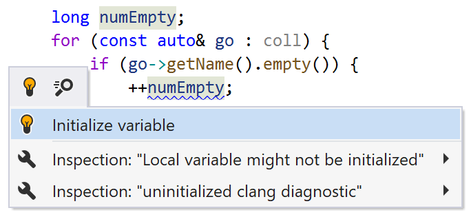 JetBrains Rider helps initialize variables in C++