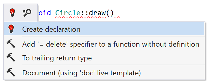 Generating declaration for C++ class member