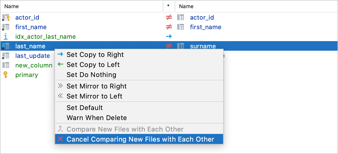 Cancel Comparing New Files with Each Other