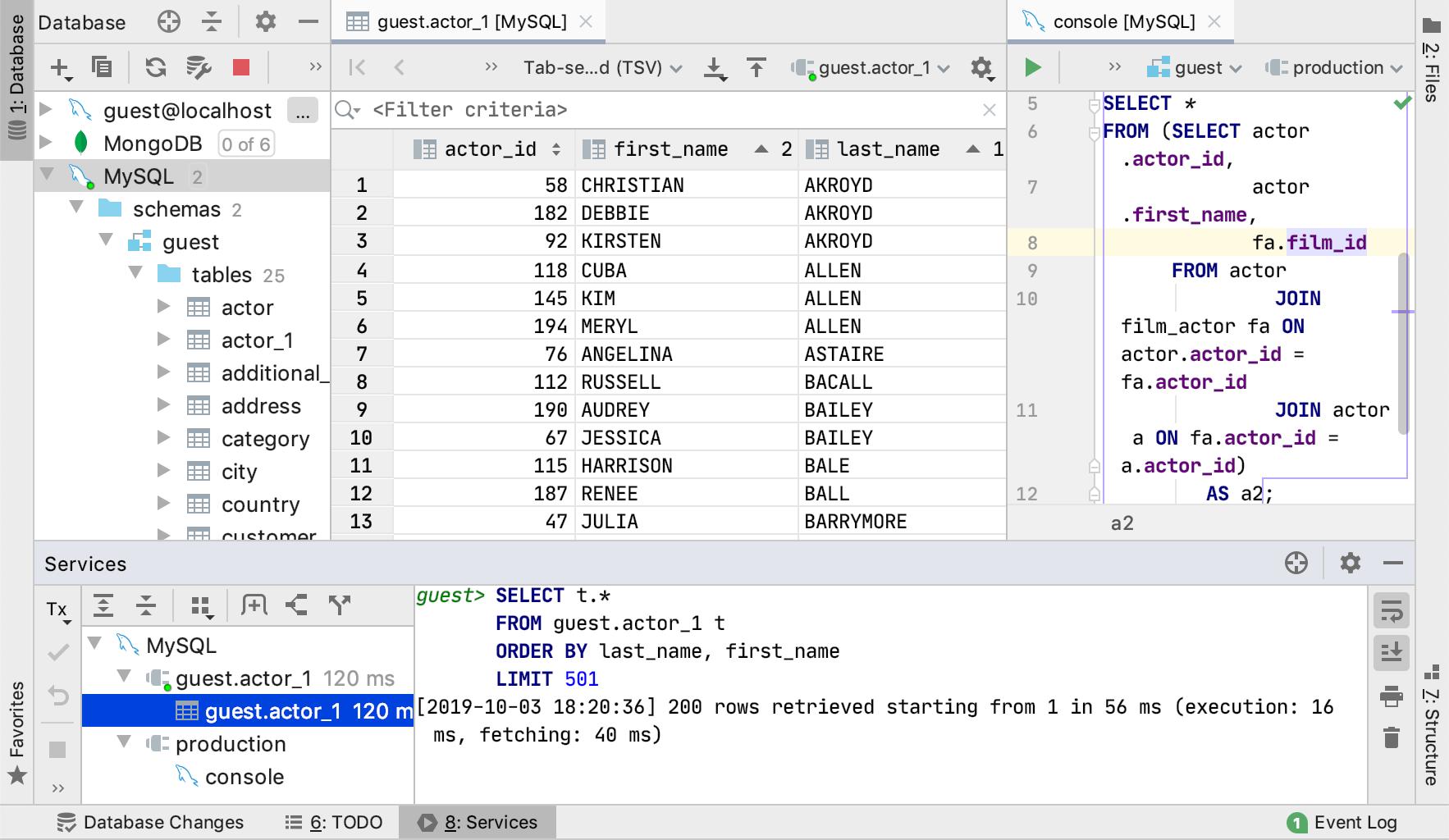 Data editor with tool windows