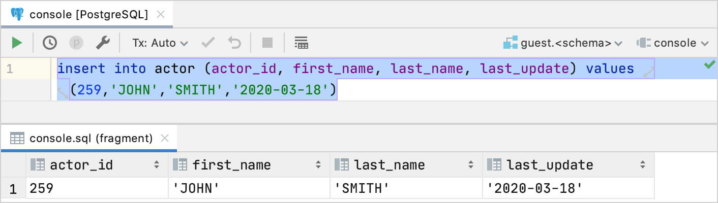 Edit data in INSERT statements as a table