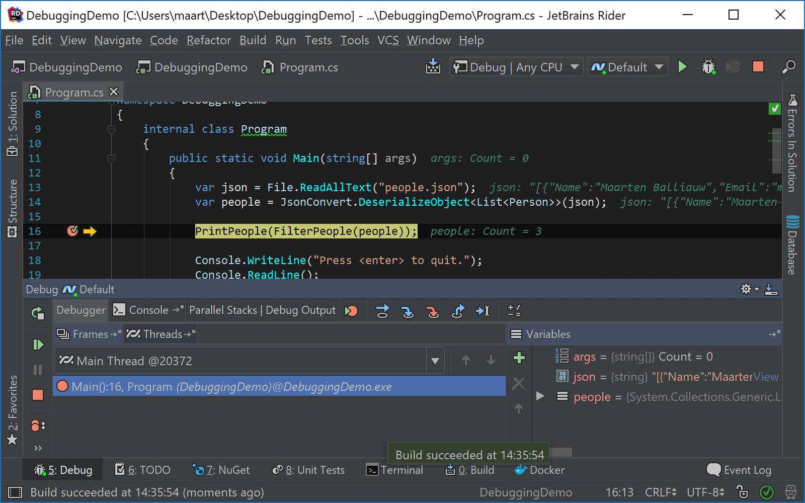 JetBrains Rider: Using Alt+Enter menu while debugging