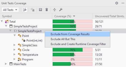JetBrains Rider: Exclude and create coverage filter