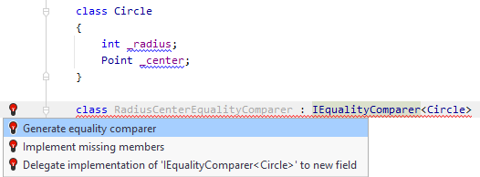 JetBrains Rider: Generate equality comparer quick-fix