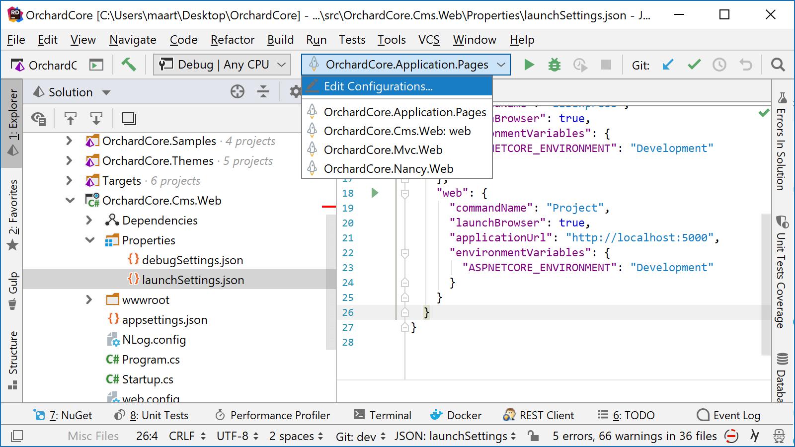 JetBrains Rider: Creating run/debug configurations based on launchSettings.json