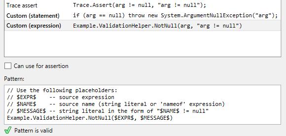 JetBrains Rider: custom patterns for null checking