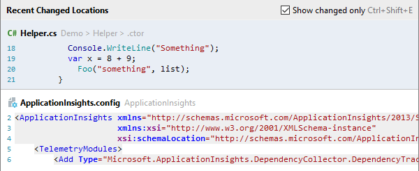 JetBrains Rider: Recent Locations popup. Show changed only