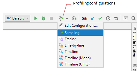 Profiling configurations in Rider