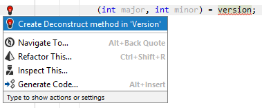 JetBrains Rider: Generating the Deconstruct method with a quick-fix