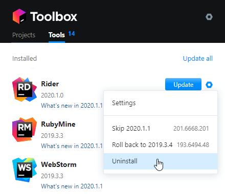 Uninstall JetBrains Rider using the Toolbox App