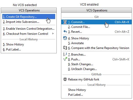 vcs operations popup