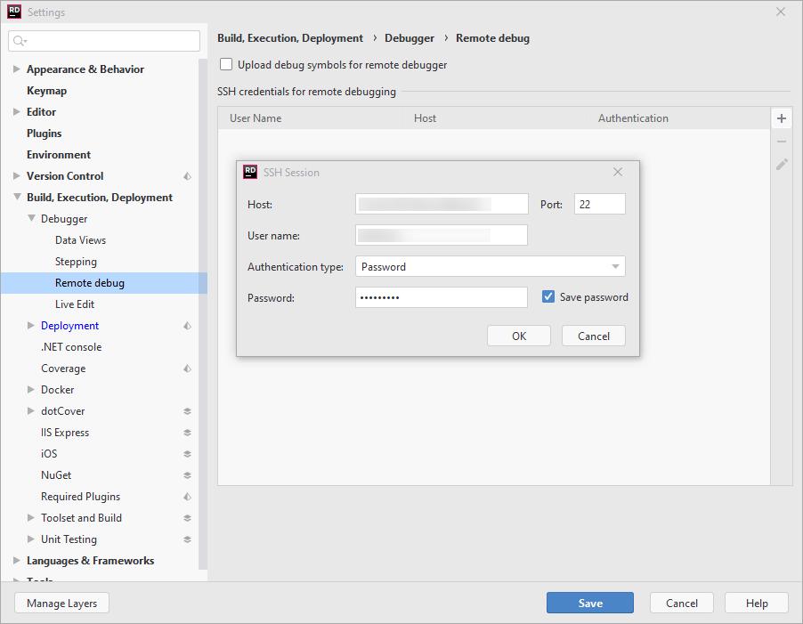 SSH remote debugging. Remote debug settings