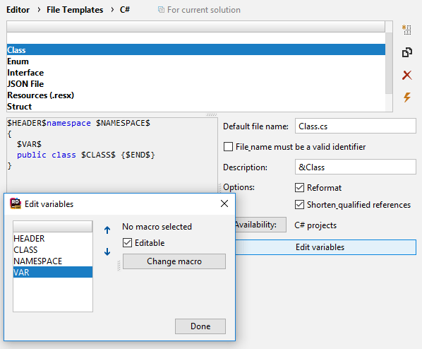 JetBrains Rider: Template editor