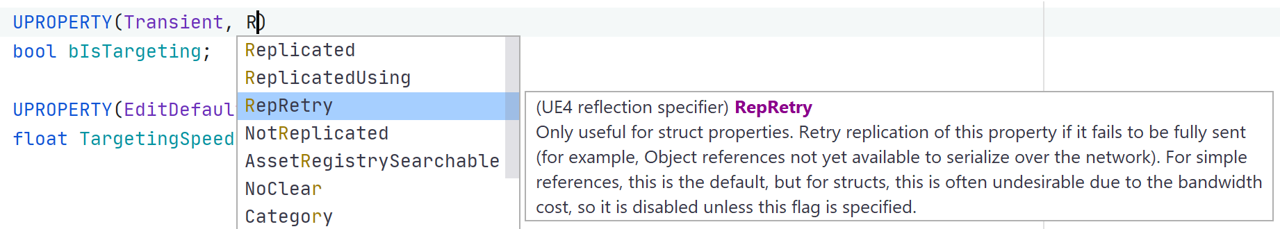 JetBrains Rider: Code completion for Unreal Engine reflection specifiers