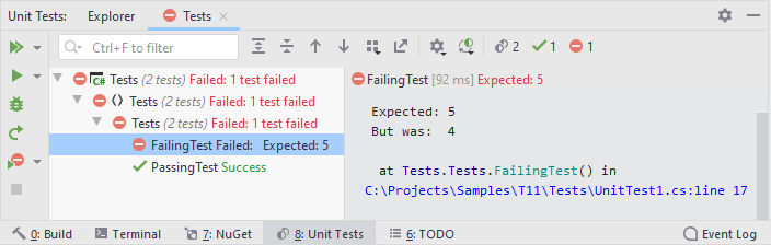 JetBrains Rider: Unit test execution results