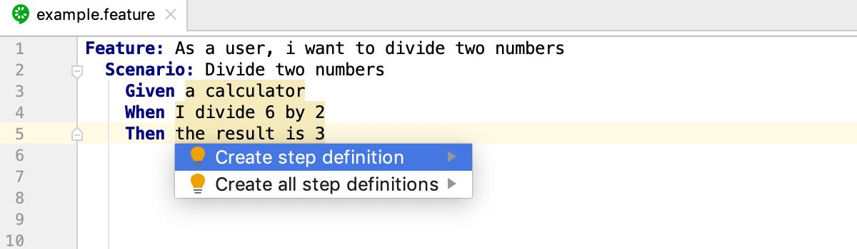 Create Cucumber.js step definitions: quick-fix