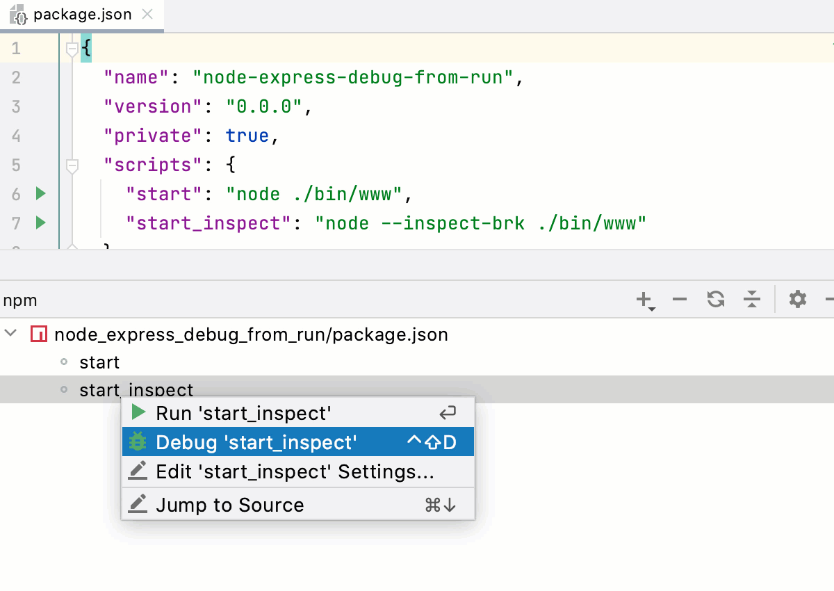 Debug one script from the npm tool window