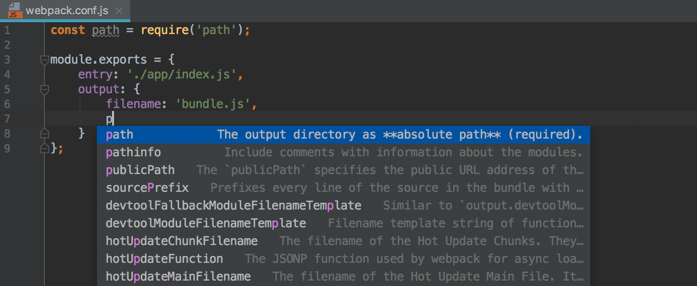 Editing a webpack configuration file