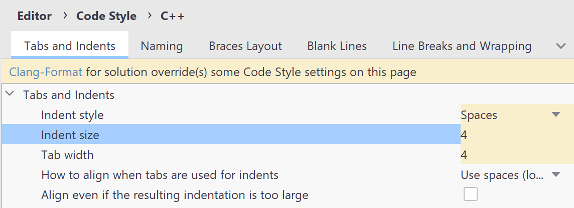 Code formatting options overridden by Clang-Format styles