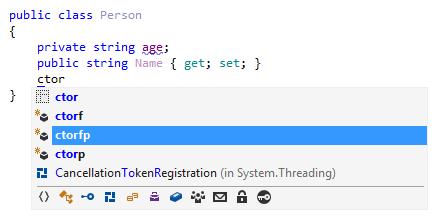 JetBrains Rider: IntelliSense for generating constructors.