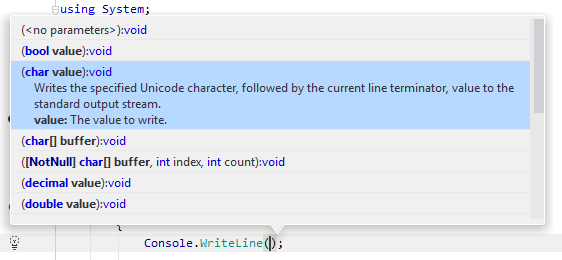 Viewing available method signatures using the JetBrains Rider's parameter information tooltip