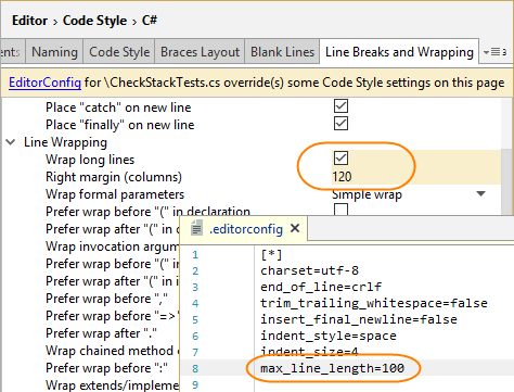 Code formatting options overridden by EditorConfig styles