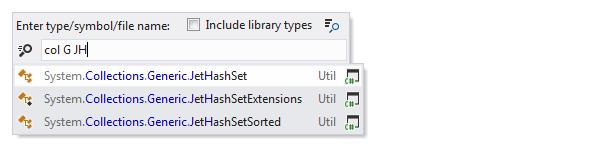 JetBrains Rider: Navigating to type