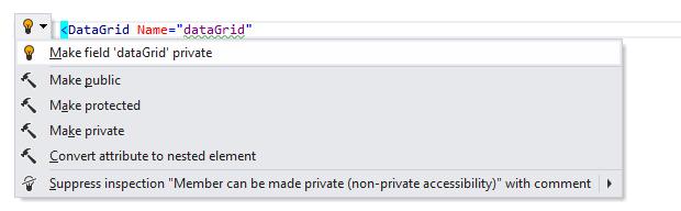 JetBrains Rider: Make field private quick-fix in XAML
