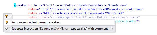 JetBrains Rider: Remove redundant namespace alias quick-fix in XAML