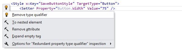 JetBrains Rider: Remove type qualifier quick-fix in XAML