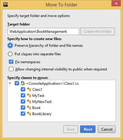 JetBrains Rider. Move to Folder refactoring